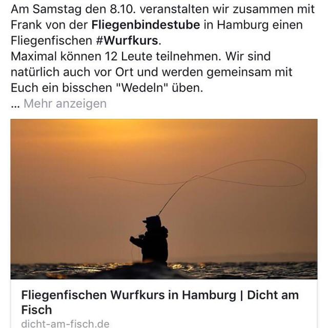 Am Samstag den 810 veranstalten wir in Hamburg einen Fliegenfischenhellip