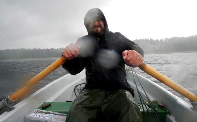 Angeln bei Regen