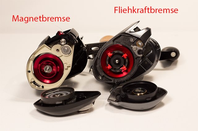 Magnetbremse Daiwa Pixy und Fliehkraftbremse Shimano Chronarch Ci4